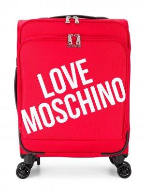 Чемодан с логотипом Love Moschino. Цвет: красный