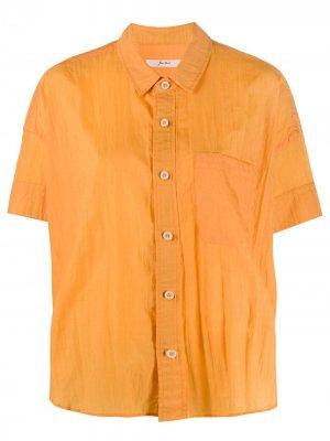 Рубашка с жатым эффектом и короткими рукавами Julien David. Цвет: оранжевый