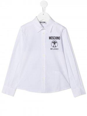 Поплиновая рубашка с логотипом Moschino Kids. Цвет: белый
