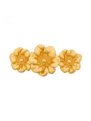 Заколка для волос с цветочными деталями Kenzo Vintage. Цвет: желтый