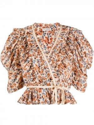 Блузка с оборками и цветочным принтом Ulla Johnson. Цвет: нейтральные цвета