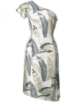 Коктейльное платье на одно плечо Josie Natori. Цвет: металлик