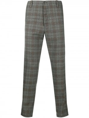 Клетчатые брюки строгого кроя Pt01. Цвет: коричневый