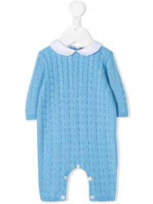 Пижама фактурной вязки Little Bear. Цвет: синий