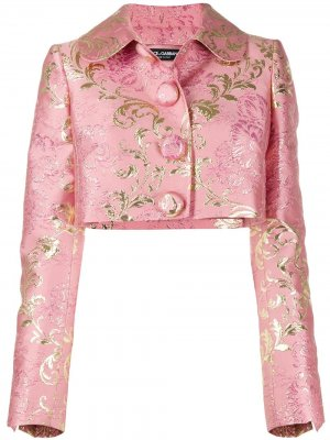 Жакет из ткани ламе с цветочным узором Dolce & Gabbana. Цвет: розовый