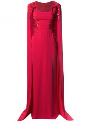 Платье в стилистике кейпа с вышивкой Marchesa Notte. Цвет: красный