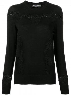Приталенный пуловер с кружевными вставками Dolce & Gabbana. Цвет: черный