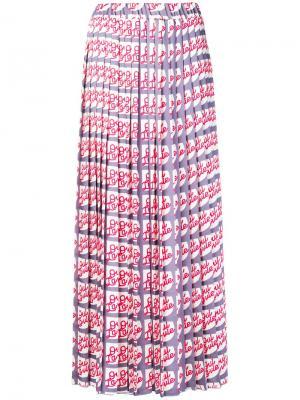 Плиссированная юбка миди с принтом Alysi. Цвет: красный
