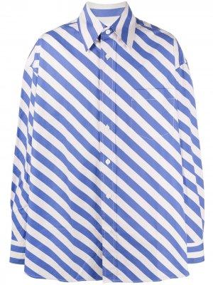 Рубашка оверсайз в полоску Marni. Цвет: синий