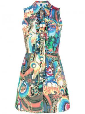 Платье джинсовое без рукавов с цветочным принтом Christian Lacroix Vintage. Цвет: синий