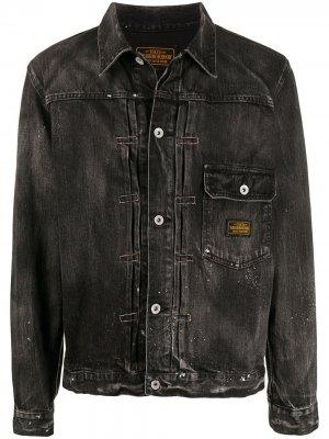 Джинсовая куртка с эффектом разбрызганной краски Neighborhood. Цвет: черный