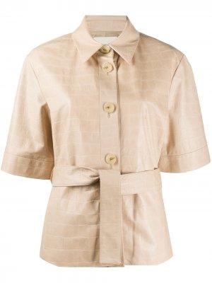 Куртка с поясом и тиснением под крокодила Drome. Цвет: нейтральные цвета