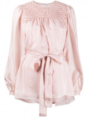Блузка с поясом Tory Burch. Цвет: розовый