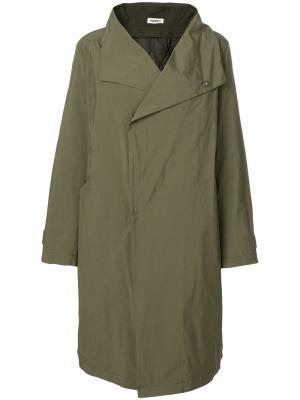Пальто с большим воротником Plantation. Цвет: зелёный