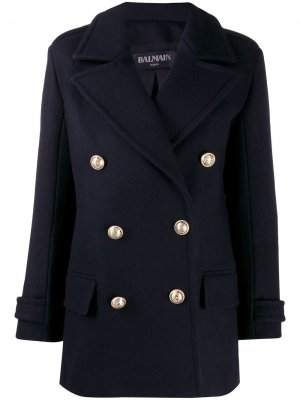Двубортное пальто Balmain. Цвет: синий