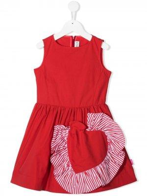 Полосатое платье с оборками Simonetta. Цвет: красный