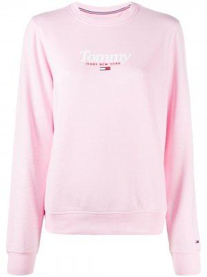 Толстовка с круглым вырезом и логотипом Tommy Jeans. Цвет: розовый