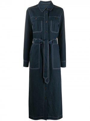Джинсовое платье миди с поясом Mara Hoffman. Цвет: синий