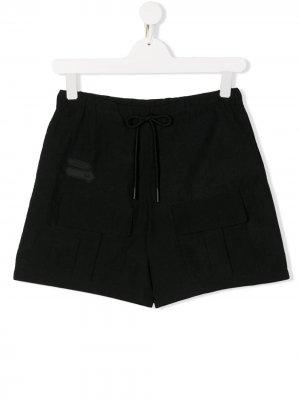Плавки-шорты с поясом на шнурке и нашивкой-логотипом Cinzia Araia Kids. Цвет: черный
