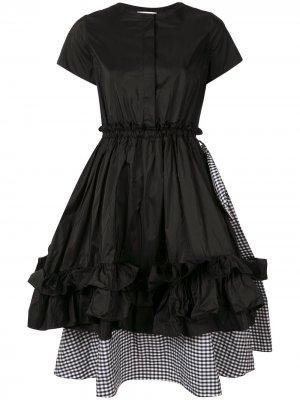 Многослойное платье с оборками в клетку Dice Kayek. Цвет: черный