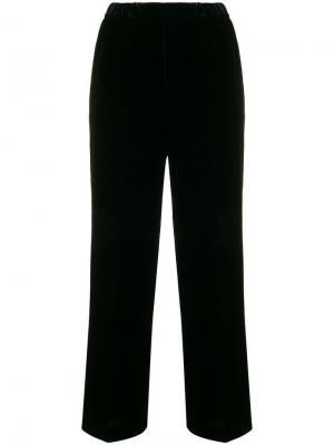 Велюровые широкие спортивные брюки Aspesi. Цвет: черный