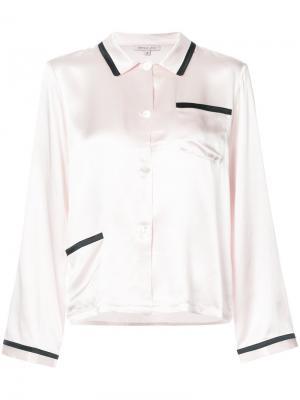 Пижамная рубашка с контрастной отделкой Morgan Lane. Цвет: розовый и фиолетовый
