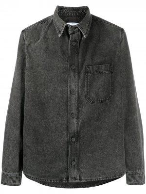 Джинсовая рубашка с длинными рукавами и логотипом Off-White. Цвет: серый