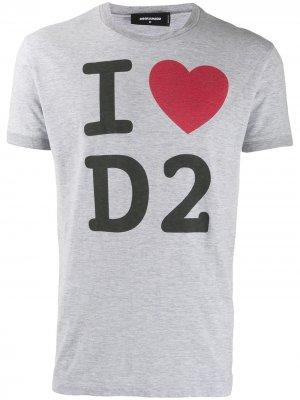 Футболка с принтом I Love D2 Dsquared2. Цвет: серый