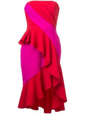 Fitted strapless dress Marchesa Notte. Цвет: красный