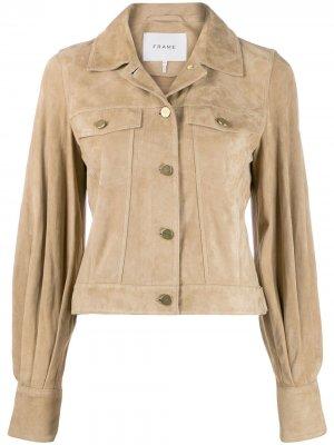 Укороченная куртка с объемными рукавами FRAME. Цвет: нейтральные цвета