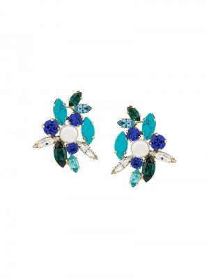 Серьги с кристаллами Swarovski Shourouk. Цвет: синий