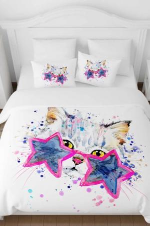 Постельное белье ЕВРО Звездный кот Сирень. Цвет: белый