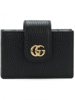 Визитница с логотипом GG Gucci. Цвет: черный