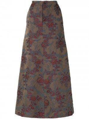 Жаккардовая юбка макси с цветочным принтом Uma Wang. Цвет: коричневый
