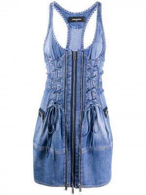 Джинсовое платье мини Dsquared2. Цвет: синий