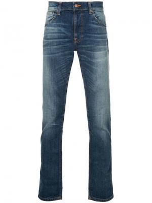 Джинсы узкого кроя с эффектом варенки Nudie Jeans Co. Цвет: синий