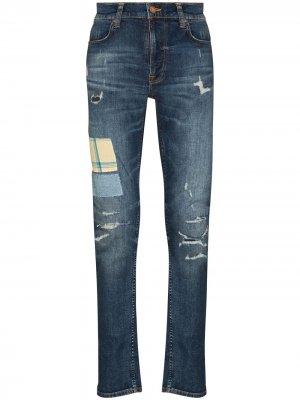 Джинсы Lean Dean кроя слим с эффектом потертости Nudie Jeans. Цвет: синий