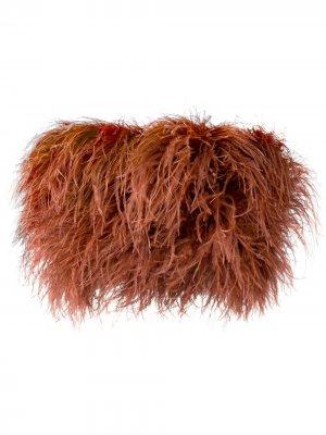 Топ-корсет с перьями Loulou. Цвет: коричневый