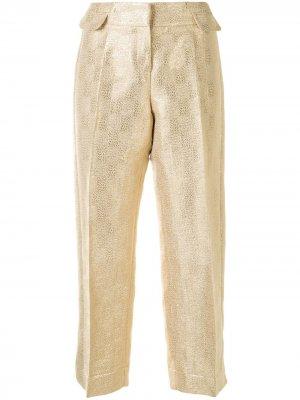 Укороченные брюки с эффектом металлик Christian Dior. Цвет: золотистый