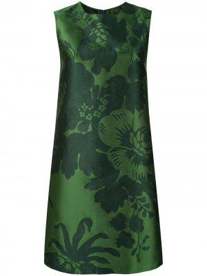 Платье с жаккардовым цветочным узором Carolina Herrera. Цвет: зеленый