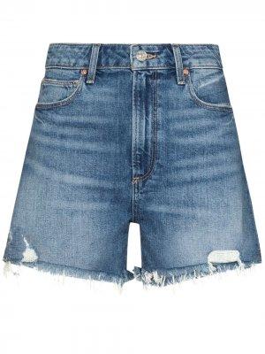 Джинсовые шорты Dani с завышенной талией PAIGE. Цвет: синий