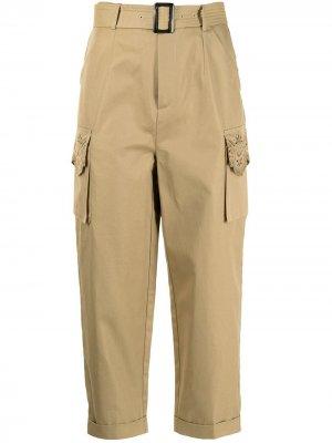 Укороченные брюки с поясом BAPY BY *A BATHING APE®. Цвет: коричневый