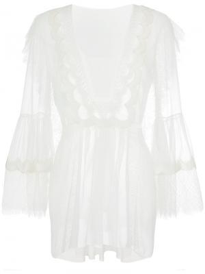 Кружевная блузка Alberta Ferretti. Цвет: белый