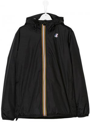Толстовка на молнии с капюшоном и логотипом K Way Kids. Цвет: черный
