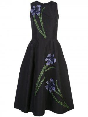 Платье с цветочной вышивкой Carolina Herrera. Цвет: черный
