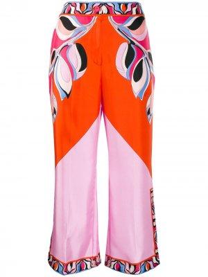 Укороченные брюки широкого кроя Emilio Pucci. Цвет: оранжевый