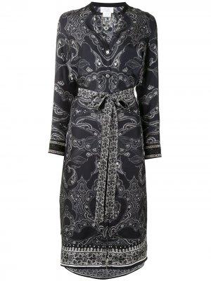 Платье-рубашка Midnight Pearl с поясом Camilla. Цвет: черный