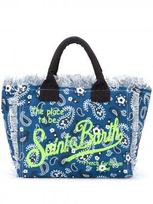 Пляжная сумка с логотипом и принтом пейсли Mc2 Saint Barth. Цвет: синий