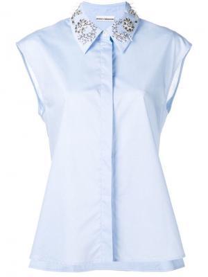 Рубашка с кристаллами Paco Rabanne. Цвет: синий