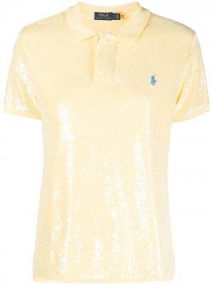Рубашка поло с пайетками Polo Ralph Lauren. Цвет: желтый